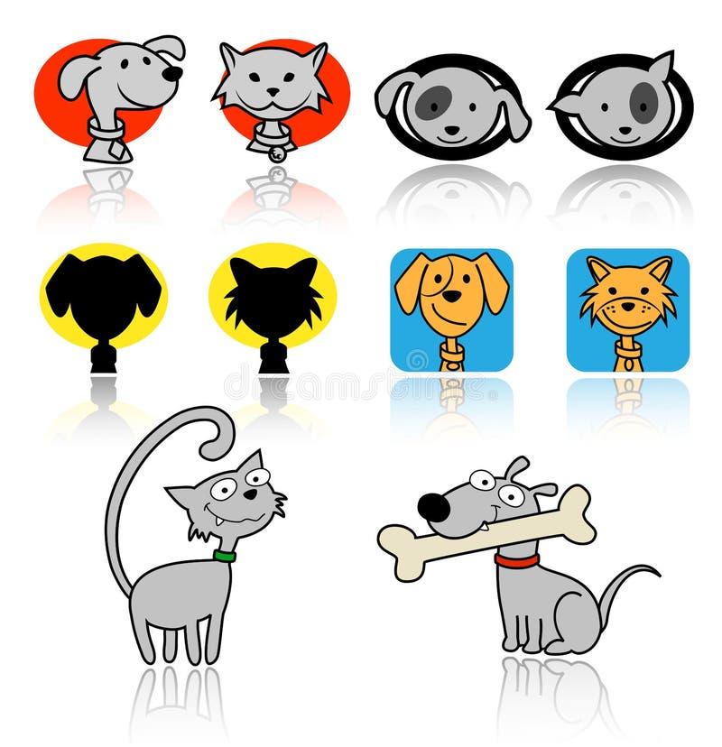 猫和狗象 向量例证