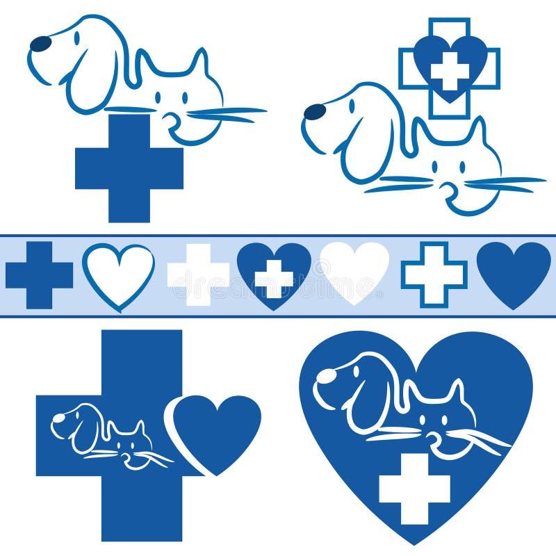 猫和狗-兽医商标+象 皇族释放例证