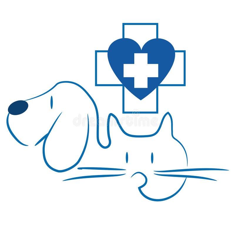 猫和狗-兽医商标 向量例证