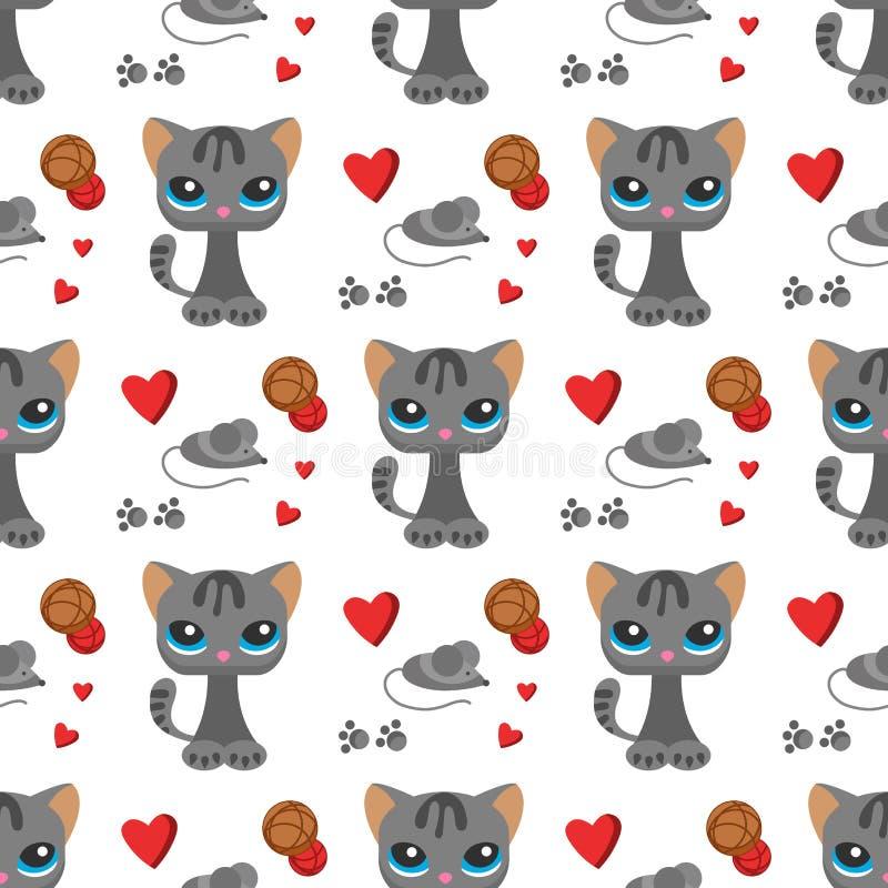 猫和老鼠逗人喜爱的全部赌注宠爱动画片逗人喜爱的动物如猫字符无缝的样式背景似猫例证 皇族释放例证