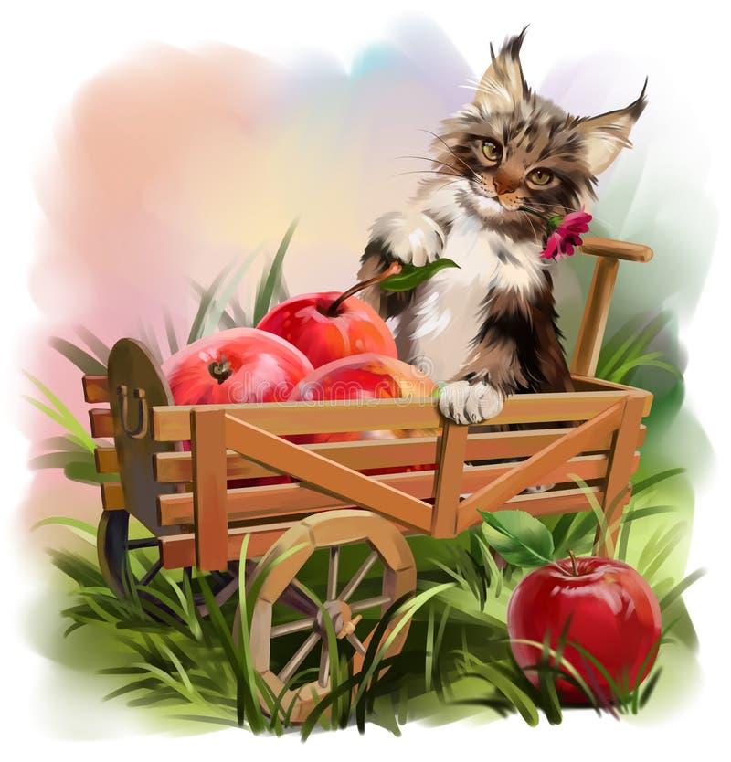 猫和苹果计算机收获 皇族释放例证