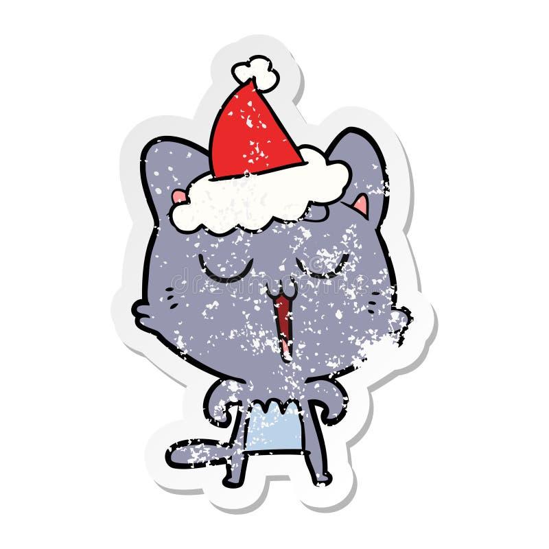 猫唱歌佩带的圣诞老人帽子的困厄的贴纸动画片 库存例证
