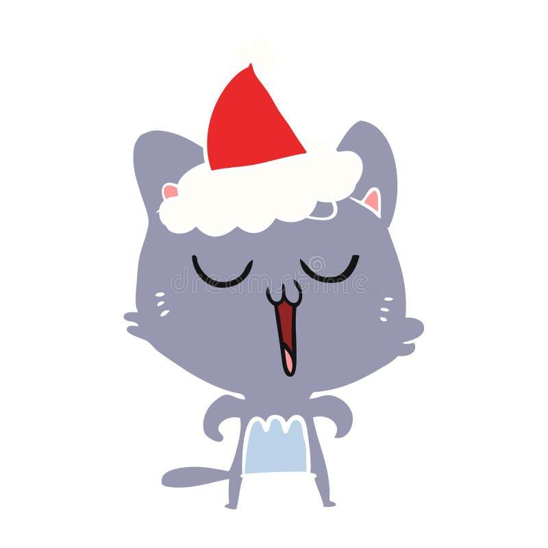 猫唱歌佩带的圣诞老人帽子的平的彩色插图 皇族释放例证