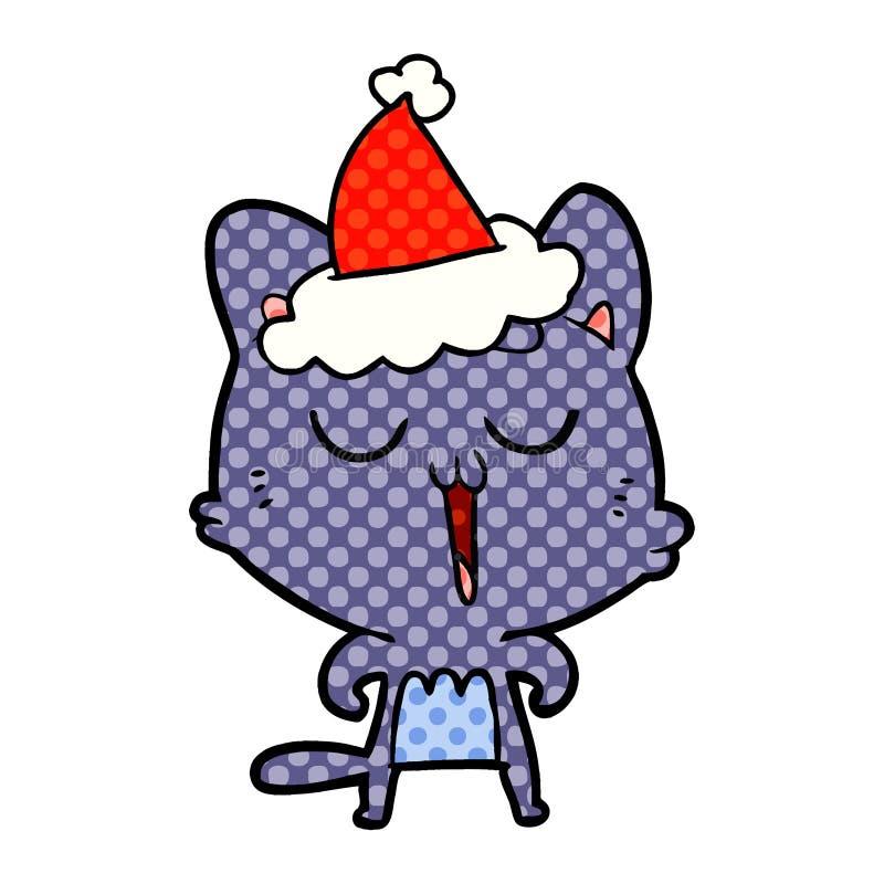 猫唱歌佩带的圣诞老人帽子的手拉的漫画样式例证 库存例证