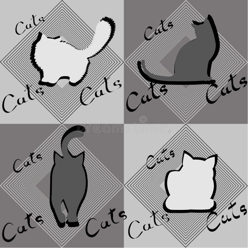 猫四个剪影用不同的姿势 库存例证