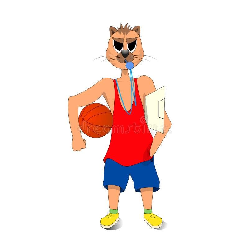 猫在他的手上的举行篮球 篮球教练 背景漫画人物厚颜无耻的逗人喜爱的狗愉快的题头查出微笑白色 向量例证