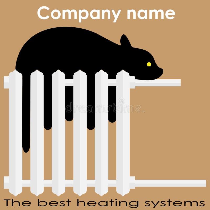 猫在幅射器最佳的加热系统商标睡觉 向量例证