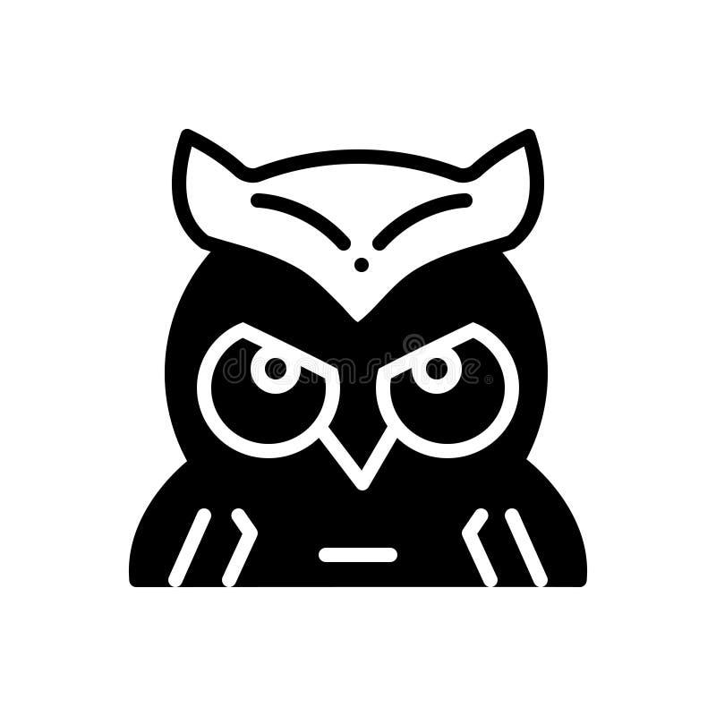 猫头鹰、智慧和面孔的黑线象 库存例证