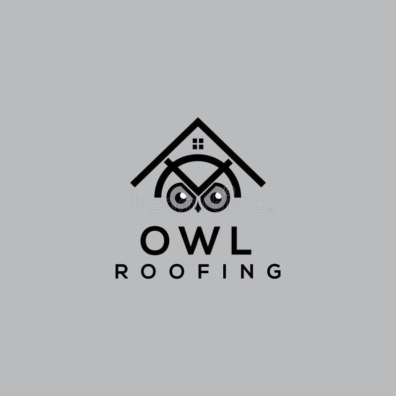 猫头鹰传染媒介商标 屋顶修理商标 屋顶商标 猫头鹰象 皇族释放例证