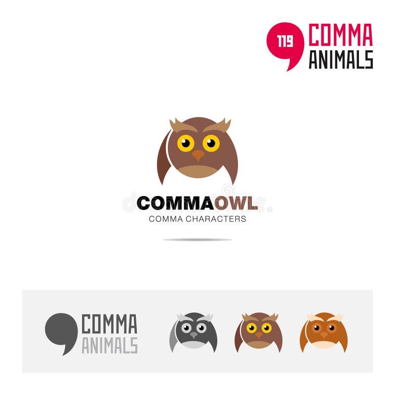 猫头鹰动物概念象集合和现代品牌身份商标模板和根据逗号的app标志签字 库存例证