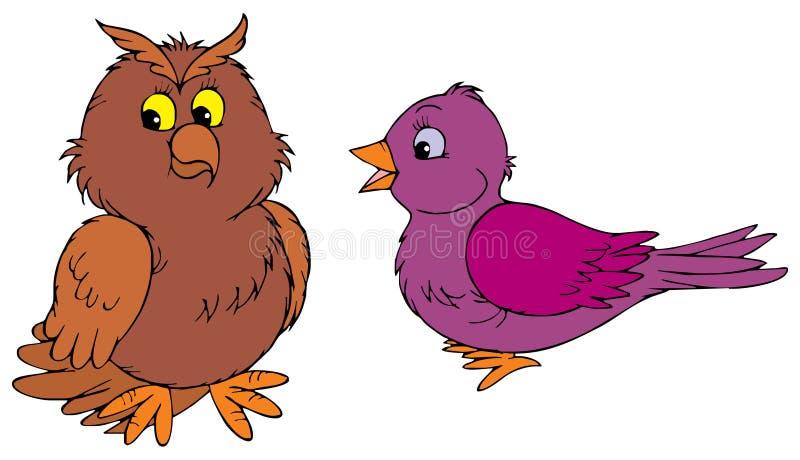 猫头鹰和紫色鸟 皇族释放例证