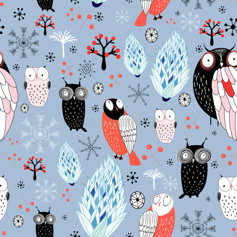 猫头鹰和雪花冬天纹理  向量例证