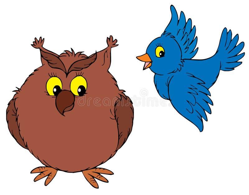 猫头鹰和鸟动画片 库存例证