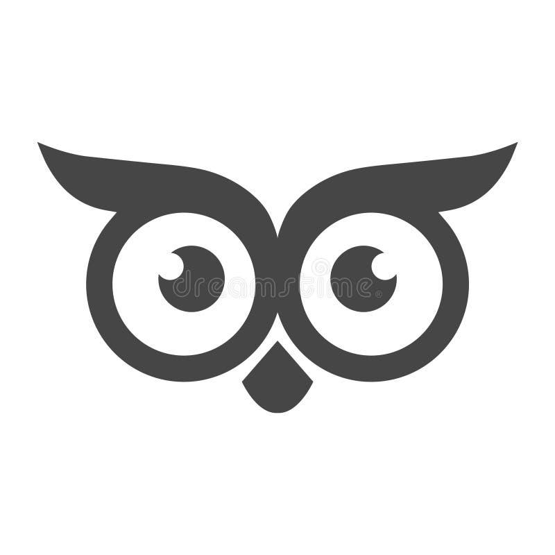 猫头鹰商标模板,猫头鹰象简单的传染媒介象 库存例证