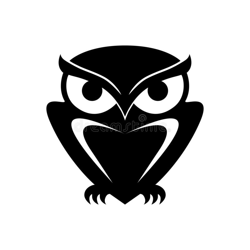 猫头鹰图表黑标志 夜猎人 库存例证