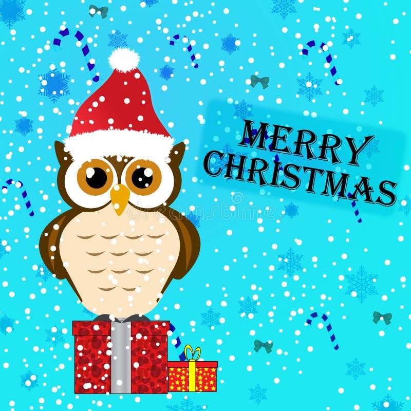 猫头鹰圣诞节贺卡例证 库存例证