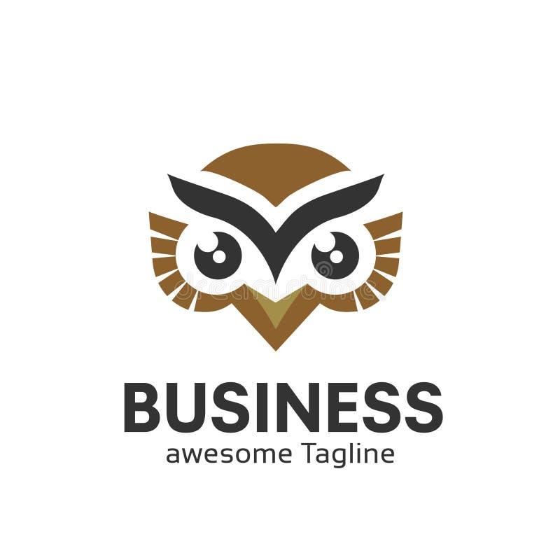 猫头鹰在现代五颜六色的商标的商标传染媒介 皇族释放例证