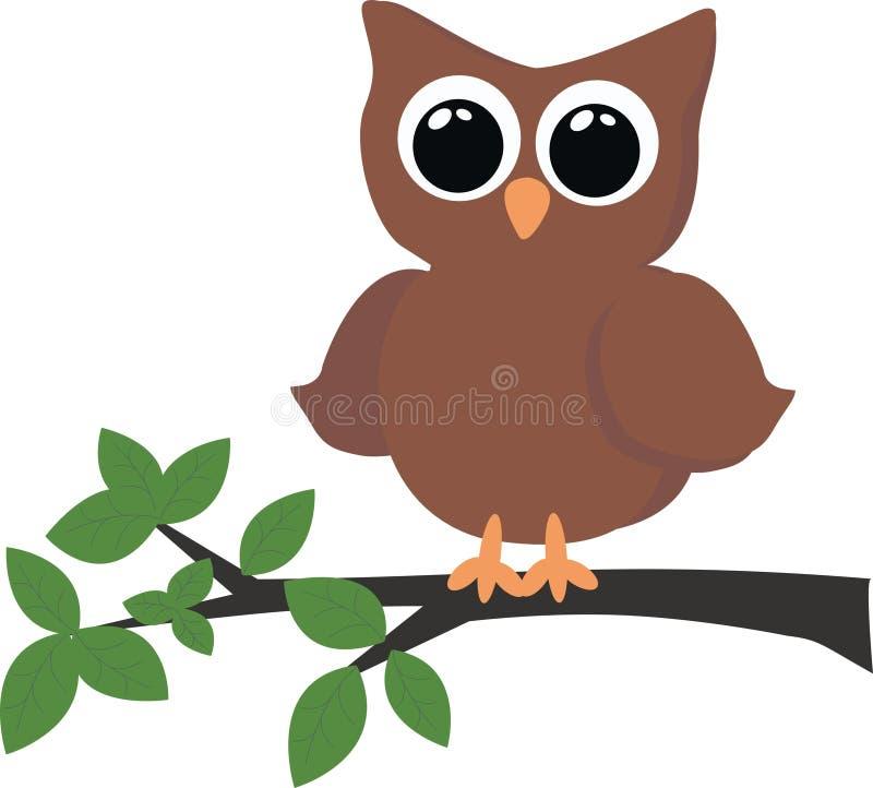 猫头鹰坐的结构树 库存例证
