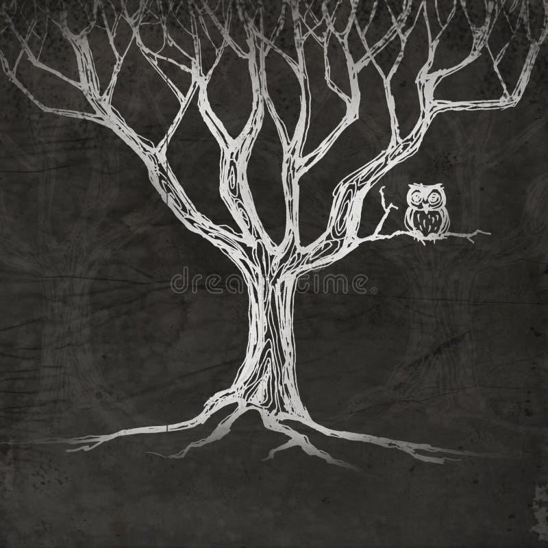 猫头鹰坐结构树 皇族释放例证