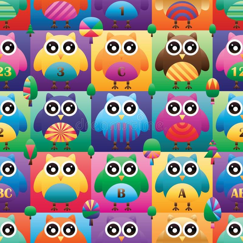 猫头鹰大眼睛方形的对称颜色无缝的样式 库存例证