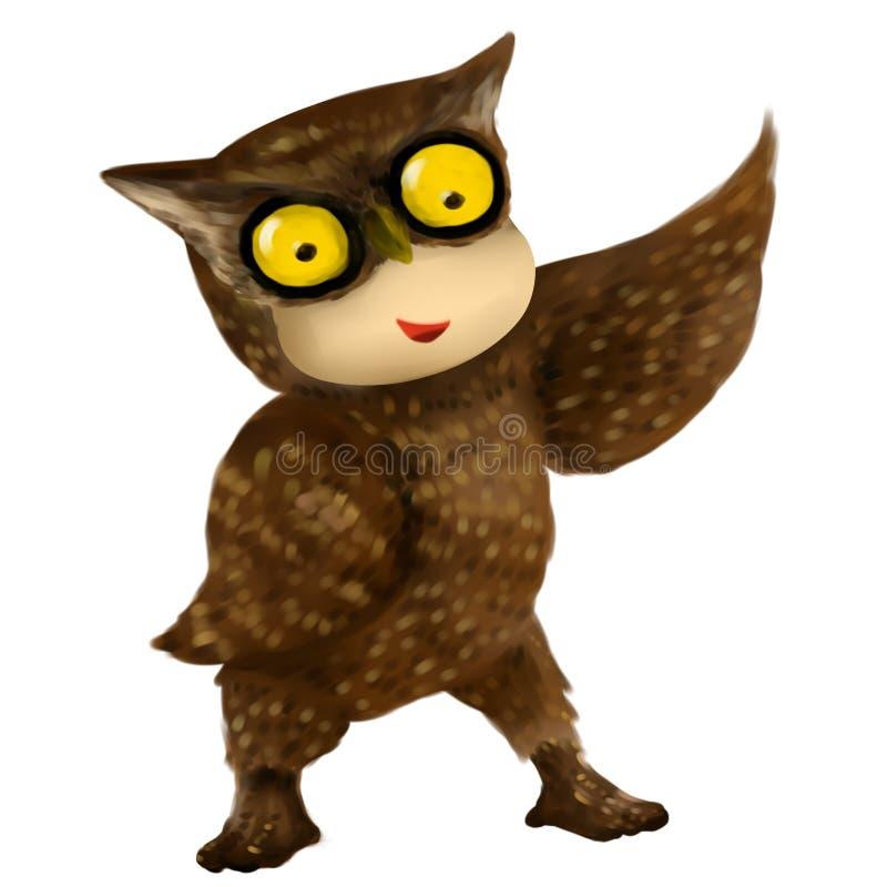猫头鹰孩子,在猫头鹰服装的孩子 皇族释放例证