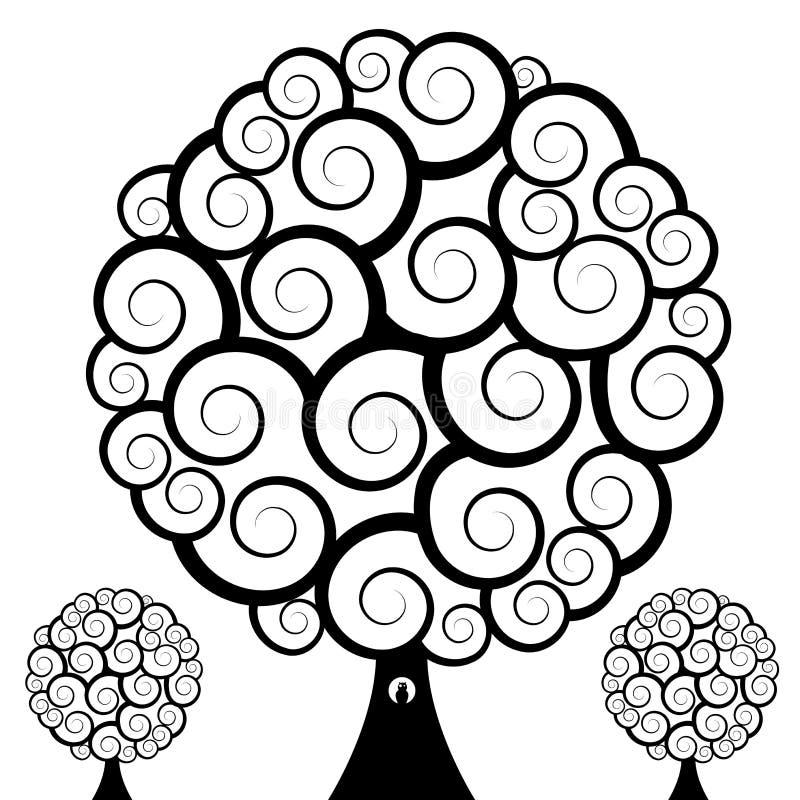 猫头鹰漩涡结构树 向量例证
