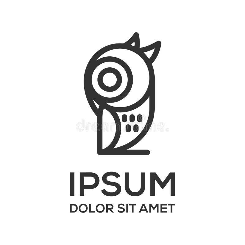 猫头鹰线艺术商标设计模板 皇族释放例证