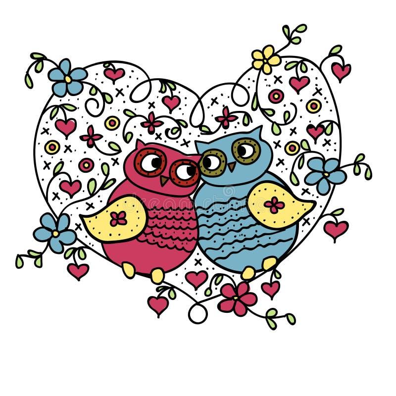 猫头鹰,他和她在心脏坐 库存例证