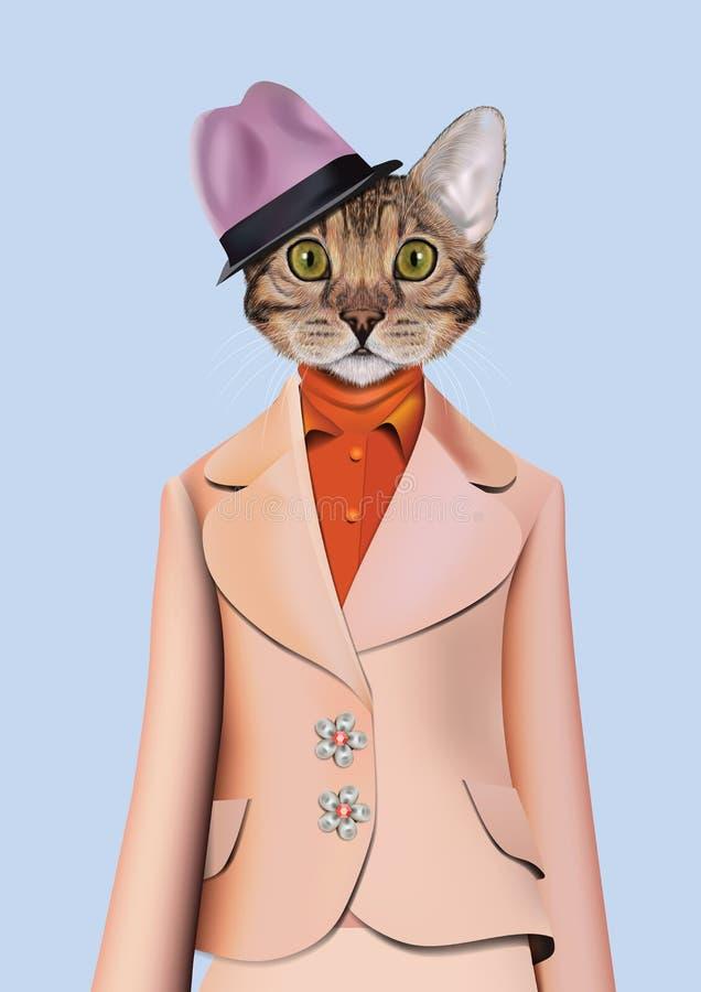 猫女孩在经典减速火箭的样式装饰了 皇族释放例证