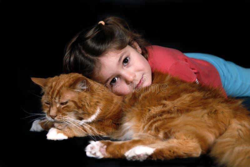 猫女孩 库存照片