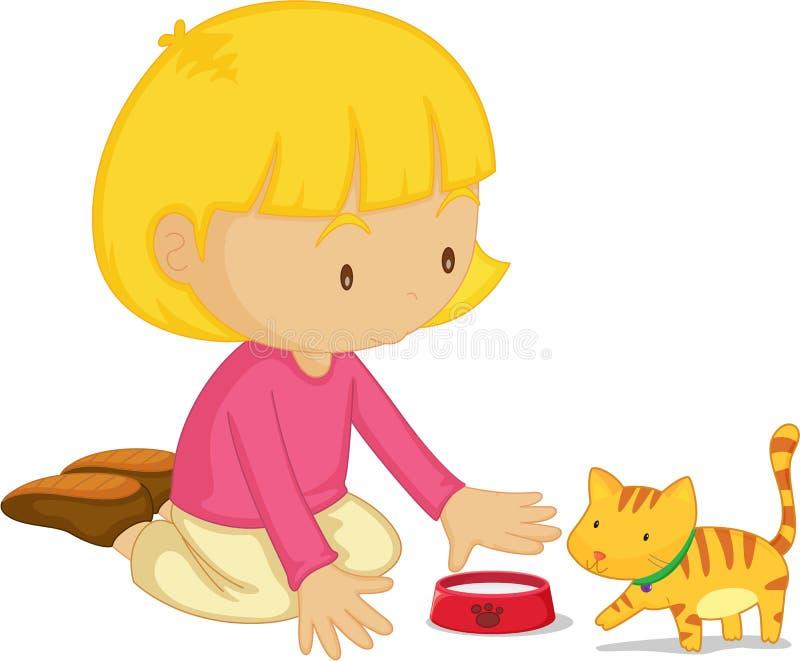 猫女孩 皇族释放例证