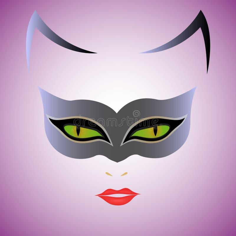 猫妇女面具 库存例证