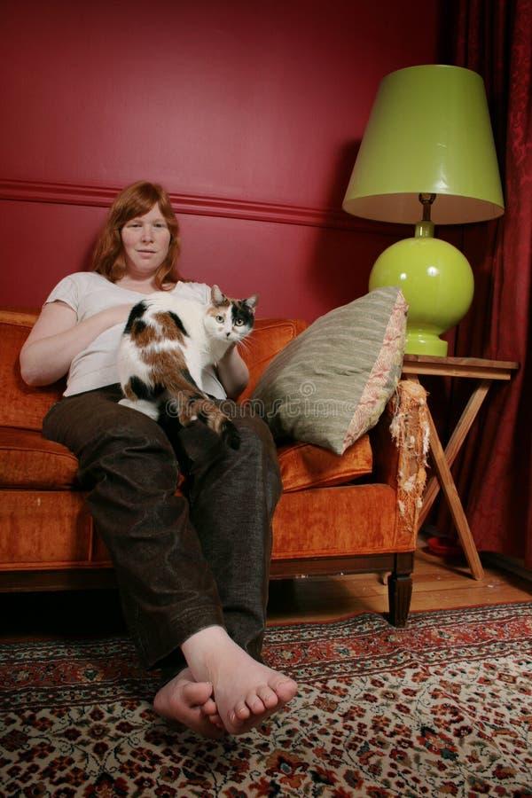 猫妇女 免版税图库摄影