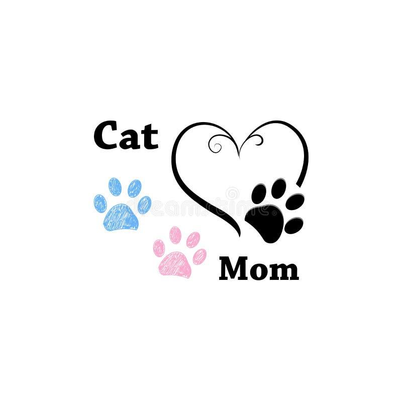 猫妈妈 与心脏的桃红色和蓝色爪子印刷品 日愉快的母亲s 皇族释放例证