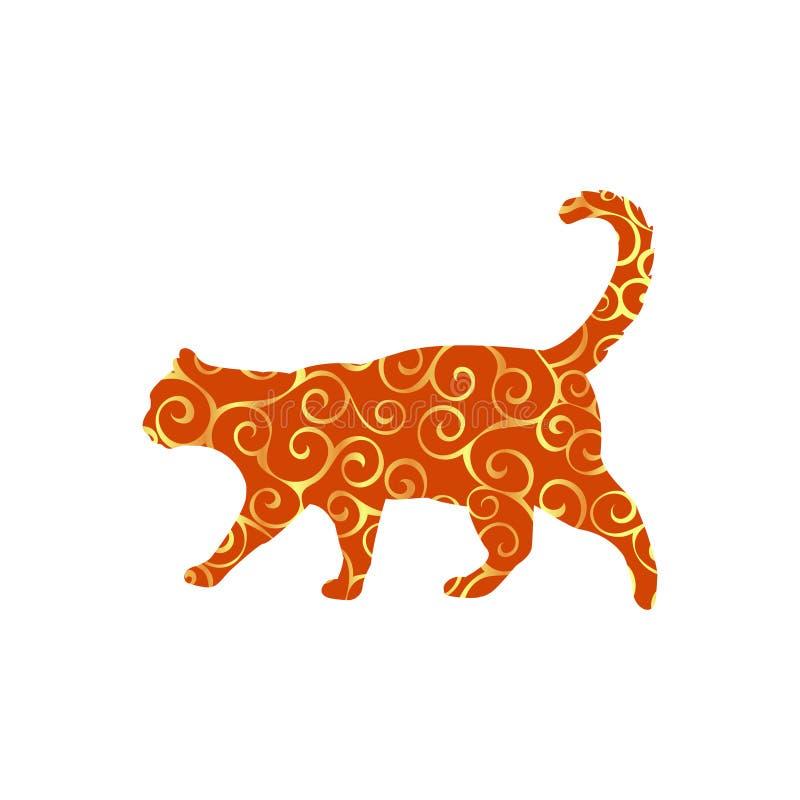 猫宠物螺旋样式颜色剪影动物 皇族释放例证