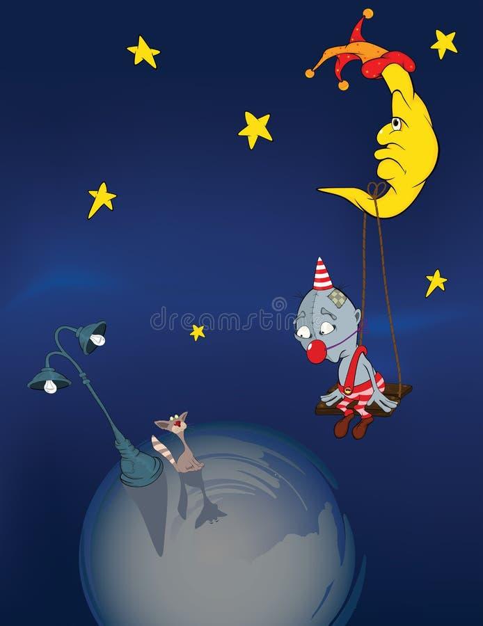 猫小丑月亮 库存例证