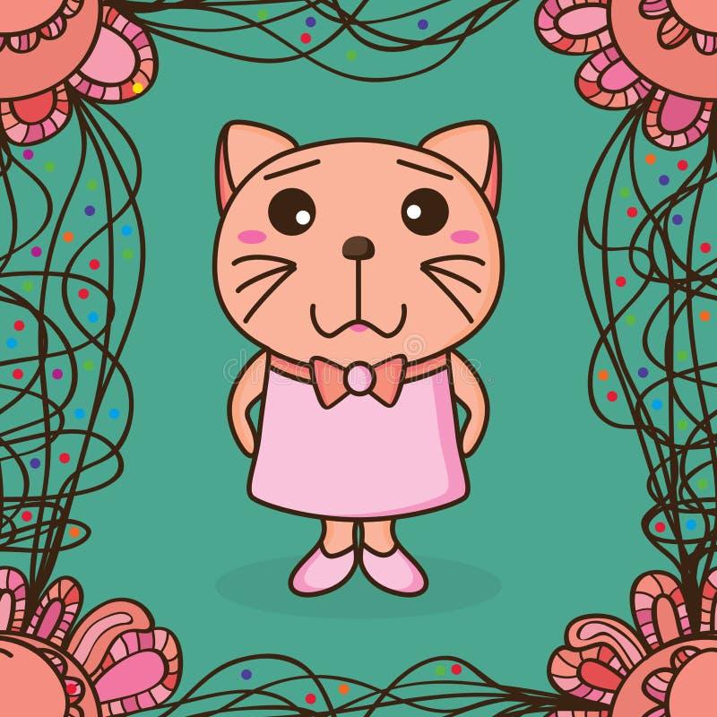 猫小丝带框架无缝的样式 库存例证