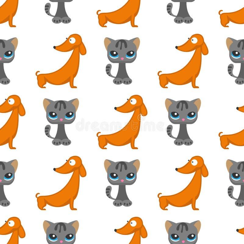 猫尾随传染媒介例证逗人喜爱的动物滑稽的无缝的样式背景字符似猫的家养的时髦宠物 皇族释放例证
