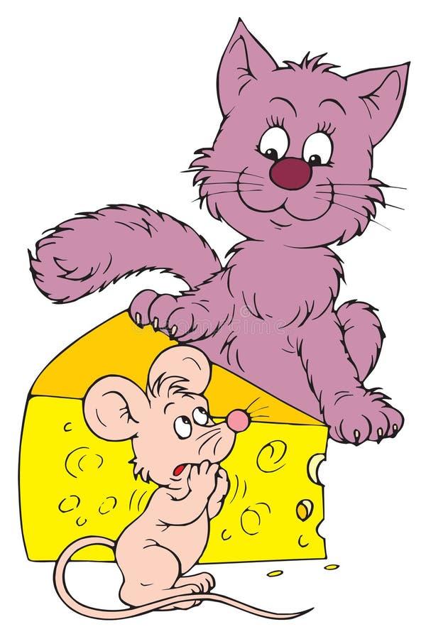 猫干酪鼠标向量 皇族释放例证