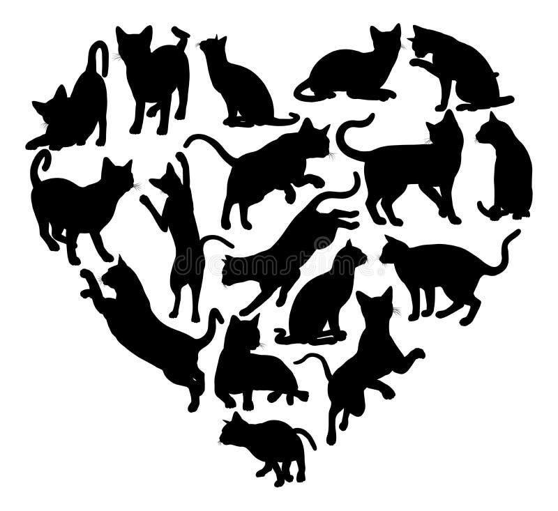 猫心脏剪影概念 皇族释放例证
