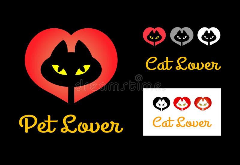 猫恋人标志 向量例证