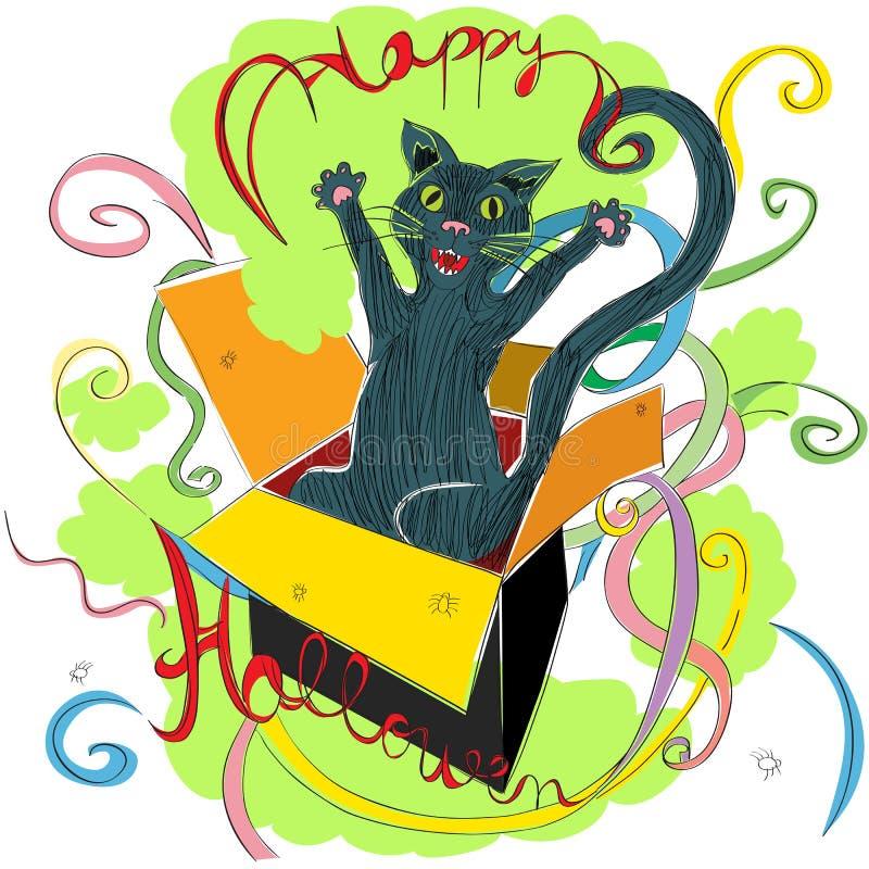 猫愉快的万圣节 皇族释放例证