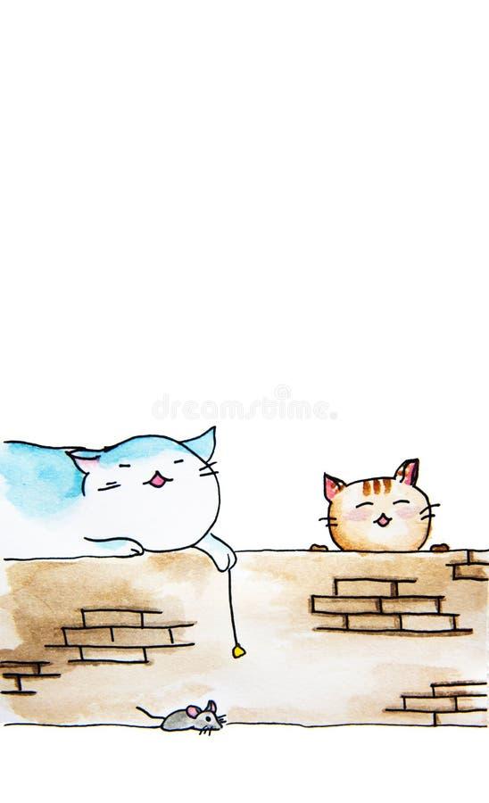 猫手拉的水彩绘画坐墙壁和老鼠 向量例证