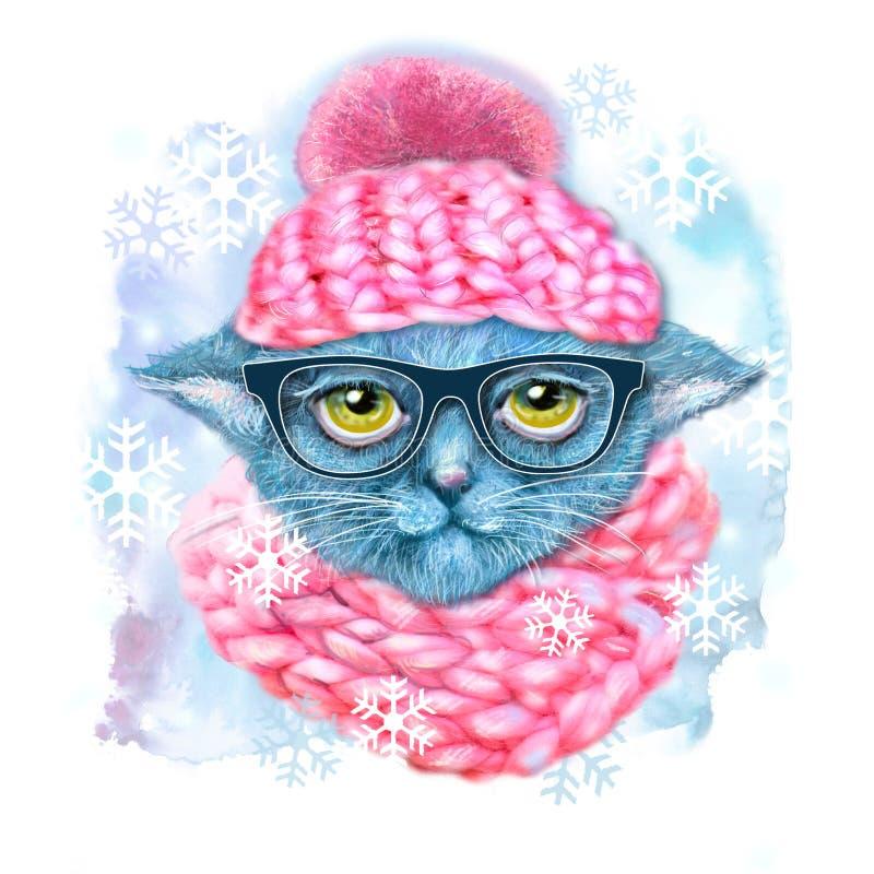 猫手拉的画象与玻璃、帽子和围巾的 行家猫时尚画象  贺卡的手拉的例证 向量例证