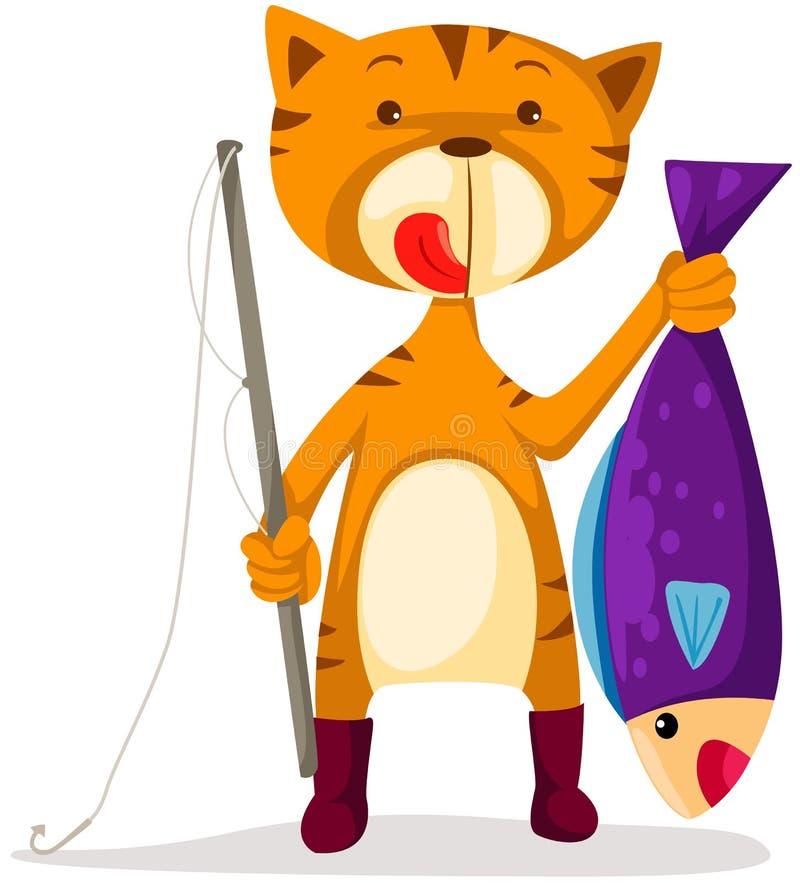 猫捕鱼 库存例证