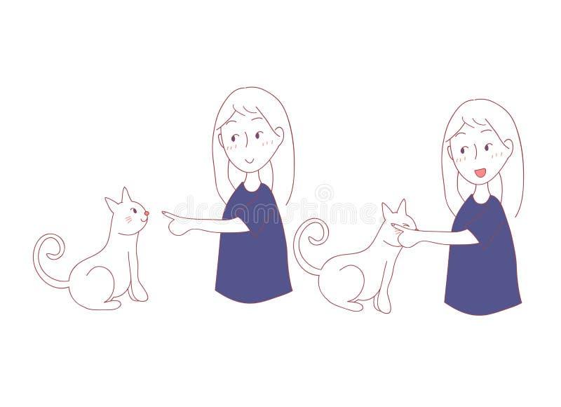 猫摩擦有面颊的女孩手 我在猫语言信任您 也corel凹道例证向量 背景查出的白色 向量例证