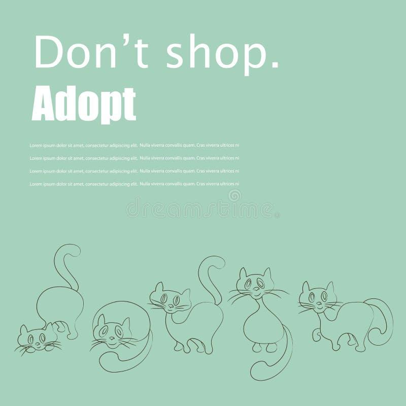 猫收养飞行物 向量例证
