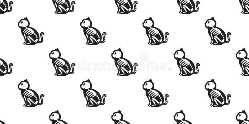 猫无缝的万圣夜样式隔绝了猫头骨骨头鬼魂象小猫墙纸背景 向量例证