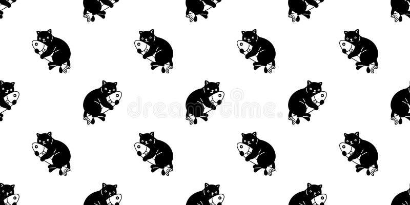 猫无缝的样式传染媒介小猫拥抱鱼围巾被隔绝的动画片瓦片墙纸重复背景例证设计 向量例证