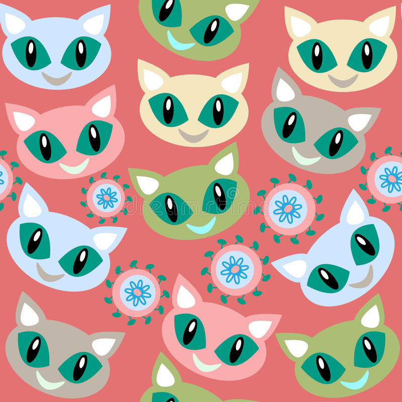 猫无缝的样式和无缝的样式在样片菜单,图象 库存例证